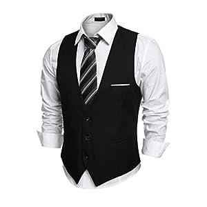 Best Epic Trends 41Td7Tv1vwL._SS300_ COOFANDY Men's V-Neck Sleeveless Slim Fit Jacket Casual Suit Vests