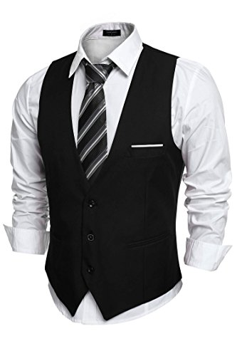 COOFANDY Men's V-Neck Sleeveless Business Suit Vests Slim Fit Wedding Waistcoat, Type-02 Black, Small