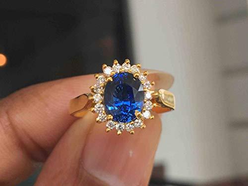 (22k Yellow Gold Princess Diana Ring Natural Genuine Ceylon Blue Sapphire Diamond Engagement Ring )