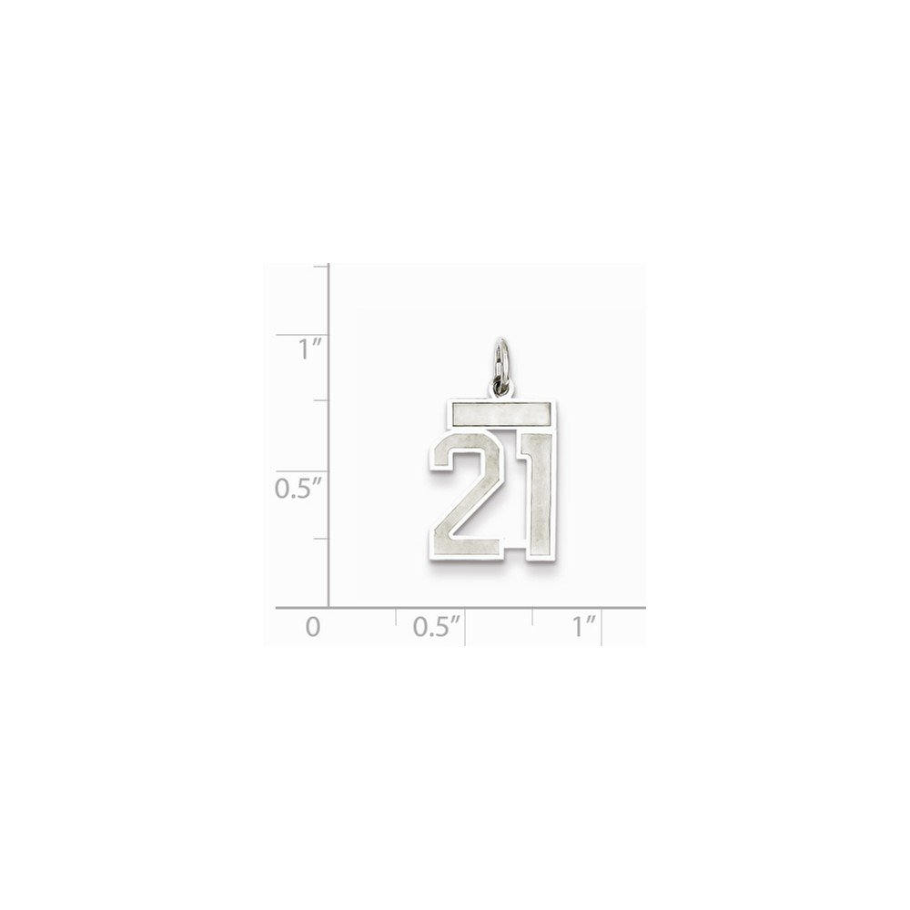 925 Sterling Silver Number 21 Pendant Twenty Digit Charm Numeral Satin Small