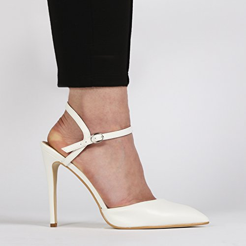 Womens Buckled Strap Pointed Toe Design Stiletto Court Heels White 3-8 svTi8M