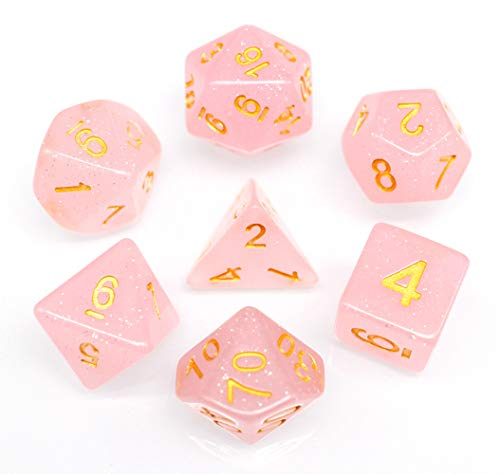 Polyhedral DND Dice Sets for Dungeons and Dragons(D&D) Role Playing Game(RPG),MTG,Pathfinder,Table Game Pink Translucent Sparkle Dice