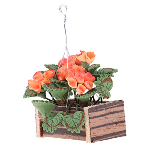 Agordo 1/12 Dollhouse Miniature Clay Plant Hanging Flower Basket Fairy Garden Decor ()