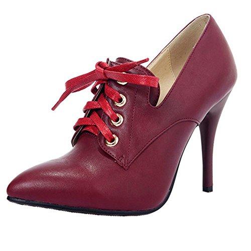 Coolcept Women Simple High Heel Court Shoes Claret ffIkA1nB