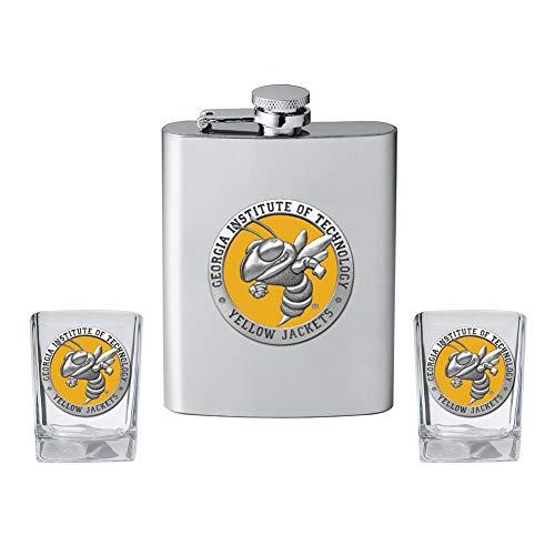 - Heritage Metalwork Georgia Tech GT Flask and 2 Shot Glass Set Liquor Flask