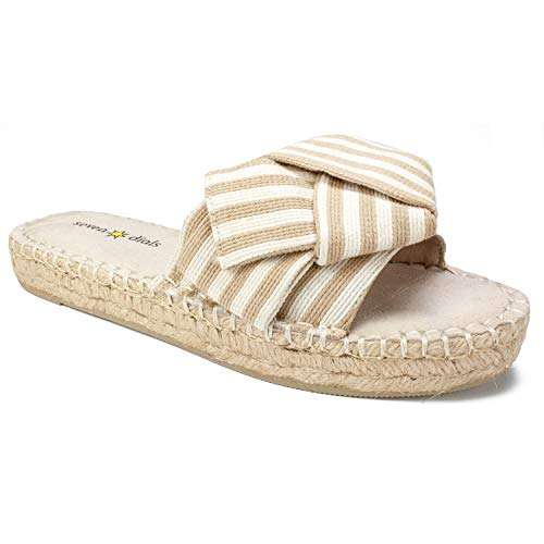 SEVEN DIALS Women's Wagner Espadrille Wedge Sandal Beige/Striped/Fabric 8 M - Dial Big