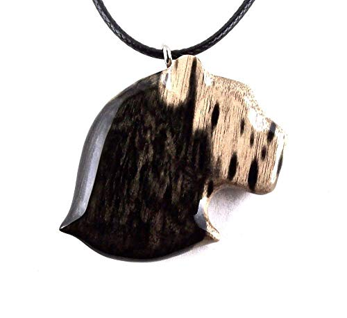 Panther Head Pendant Necklace Jaguar Totem Animal Jewelry Hand Carved in Black and White Ebony