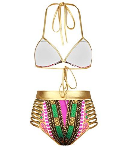 I VVEEL mujeres Halter cuello de alta cintura traje de baño metálico de impresión africana bikini Set traje de baño Magenta