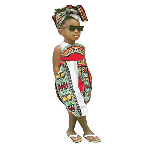 OutTop(TM) Toddler African Print Sleeveless Romper Kids Baby Girl Summer National Style Zipper Jumpsuit +Headband (4-5 Years, White) ()