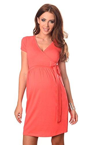 Purpless Maternity De Cóctel V-Cuello de la Ropa de Embarazo Vestido 5416 Coral