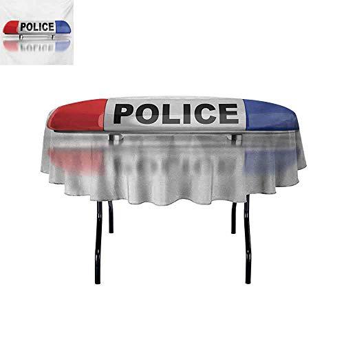 (Gloria Johnson Police+Oil-Resistant+and+Durable+Round+Table+Cover+Police+Car+Sirens+on+Top+Cap+Like+Round+Shaped+Red+and+Blue+Work+of+Art+Kitchen+Available+D51+Inch+Red+Blue+and+White+)