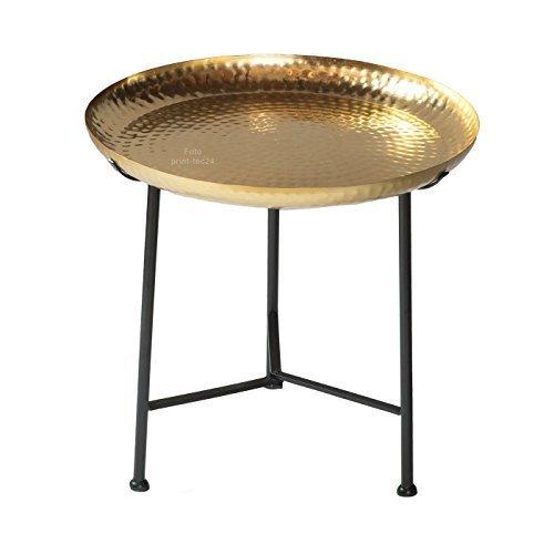 Marokkanischer Beistelltisch goldfarben Metall Orientalischer Teetisch Tisch