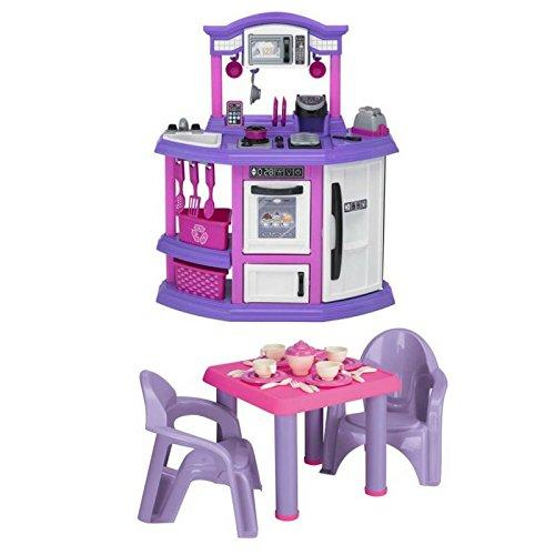 American Plastic Toys Baker's Kitchen Playset and Tea Party Set, 28-Pieces Bundle