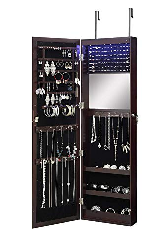 Abington Lane Over The Door Jewelry Armoire - Lockable Wall Mounted Organizing Cabinet with Full Length Mirror and LED Lights (Espresso) (Shoes Cabinet Mirror)