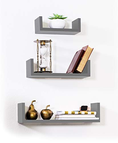 (Adorn Home Essentials Floating Shelves Set of 3 with Modern U Shape and Durable Design, Simple Hanging Kit Included (Gray) )