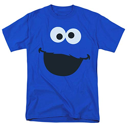 Popfunk Sesame Street Character Face Adult T Shirt & Exclusive Stickers (Royal, Large)