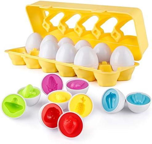 [해외]D-FantiX Color Matching Egg Set of 12 Toddler Toys Color & Shape Recognition Skill Sorter Learn Vegetables Fruits?Matching Easter Eggs Educational Early?Learning Toy for Toddlers and Kids / D-FantiX Color Matching Egg Set of 12 Tod...