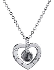 Silver Love Memory Wedding Necklace 100 languages I love you Projection Pendant Necklace