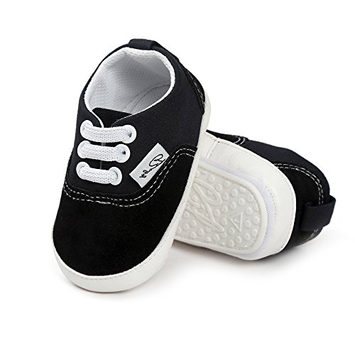 Baby Canvas Shoes - Infant Girls Boys Sneakers Anti-Slip Toddler First Walkers Slip On Newborn Crib Shoes(Black,6-12month) -