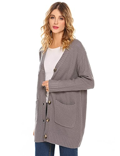 DonKap Women's Ladies Long Sleeve Pocket Cable Knit Chunky Cardigan Grey S Quilt Cardigan
