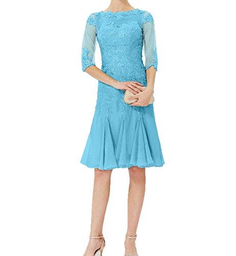 Festlichkleider Charmant Brautmutterkleider Blau Partykleider Chiffon Langarm mit Damen Knielang Abendkleider Y6wrqxZ7S6