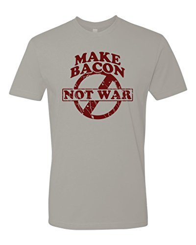 Panoware Men's Make Bacon Not War Bacon Lovers T-Shirt, Light Grey, Small (Best Way To Crumble Bacon)