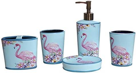 FXin バスルームアクセサリーセット、セラミック5ピースパーソナルケアバスアメニティ、アメリカのバスルーム歯科用品、2色 シャワー室 (Color : Blue)