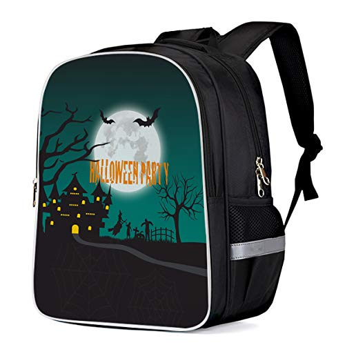 Unisex Durable School Backpack- Dark Castle Moon Halloween Party, Lightweight Oxford Fabric School Bags with Reflective Strip Daypack Laptop Bags -