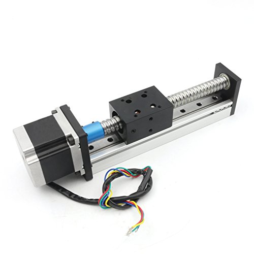 (100mm Length Travel Linear Stage Actuator with Square Linear Rails + CBX1605 Ball Screw 1605 Ballscrew Motorized XY XYZ Linear Stage Table with NEMA23 Stepper Motor for DIY CNC Router Milling Machine)