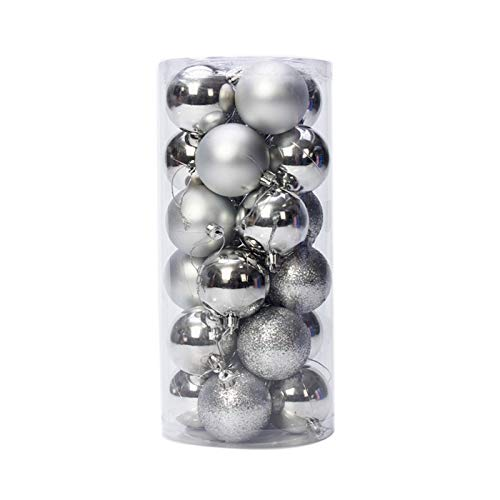 Rattlebush Christmas Ball Ornaments for Xmas Tree,Shatterproof Christmas Tree Decorations Colorful Balls (Silver, 6cm/2.36in)