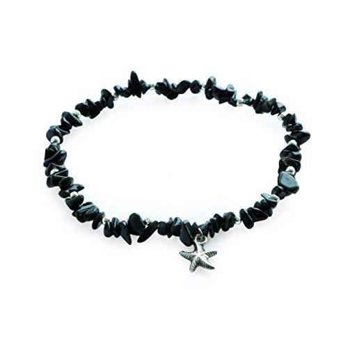 Me&Hz Silver Beaded Starfish Charm Black Onyx Foot Ankle Anklet Barefoot Sandal Bracelet for Women Girls