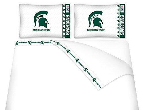 Michigan State University Microfiber Sheet Set (Queen) (University Set Sheet)