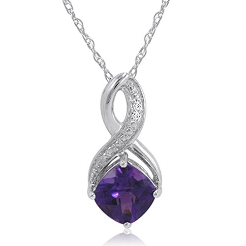 Cushion Diamond Necklace (Sterling Silver Cushion Cut Amethyst and Diamond Pendant, 18 inch)