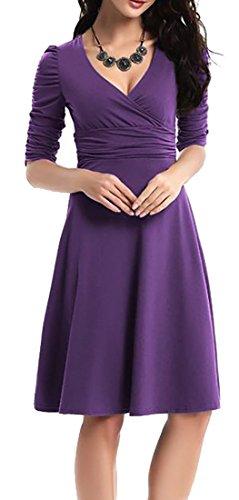 V neck 4 Party Dress Purple Cruiize Midi Sleeve Swing Womens Sexy Deep Elegant 3 wXwBICq