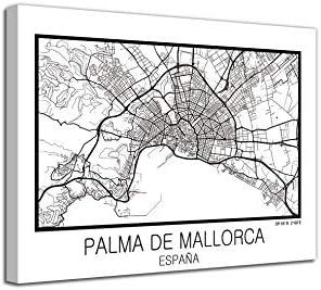 Foto Canvas Cuadro Mapa Palma de Mallorca España en Lienzo Canvas Impreso Decorativo | Cuadros Modernos: Amazon.es: Hogar