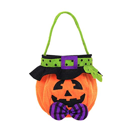 Halloween Trick or Treat Bags - Reusable Candy Totes Party Favor Bags - Halloween Kids Doll Candy Sweet Jar Box Children Storage Cans Party House Decor by Lotus.Flower (Pumpkin) -