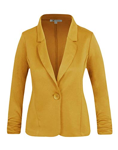 Michel Women's Casual Work Office Blazer Solid Color Single Button Up Jackets Mustard Medium