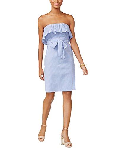 Strapless Ruffle Trim (Michael Kors Strapless Ruffle-Trim Dress (Tide Blue, X-Large))