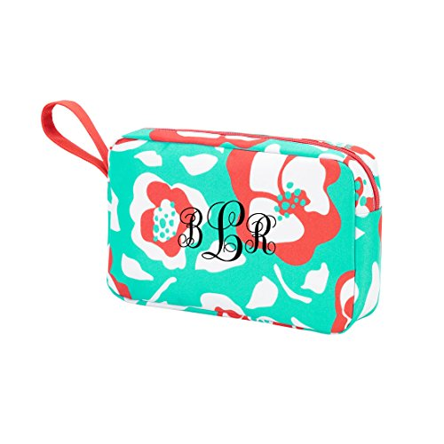 High Fashion Zippered Pouch Cosmetic Bag Pouch Can be PERSONALIZED (Monogrammed Flora Bora)