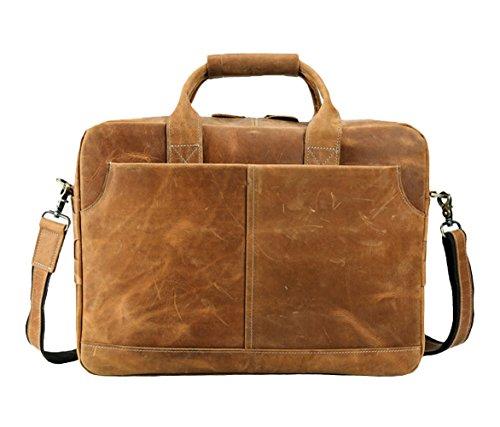 Insun - Bolsa hombre Camel Crazy Horse Leather
