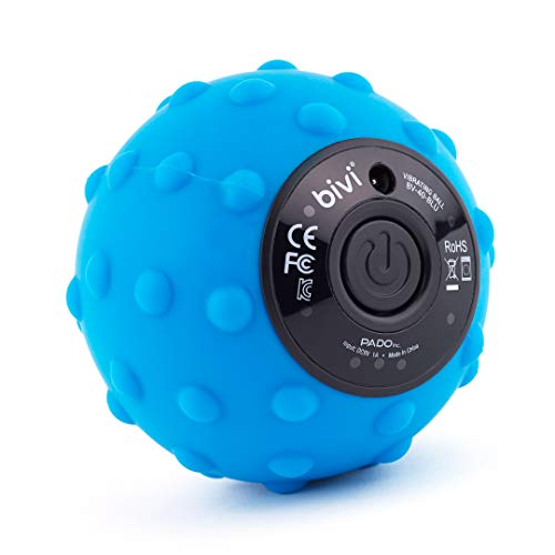 Bivi 4-Speed Vibrating Massage Ball - Therapy Ball for Myofascial Release, Replaces Lacrosse Ball Trigger Point Massage, Plantar Fasciitis, Foot, Back, Legs, Deep Tissue Massage Therapy (Blue)