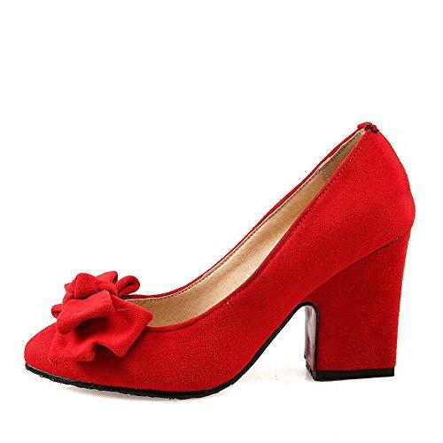 Solidi Imitati Femminile Rosse Tiro Punta Chiuse Tacchi Indicata Pompe scarpe Weenfashion Scamosciata Sulla zdxw1x0q