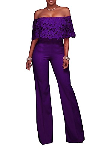 FairBeauty Women Casual Sexy Strapless High Waist Long Pant Wide Leg Ruffle Party Lace Jumpsuit - Purple Suit Pants