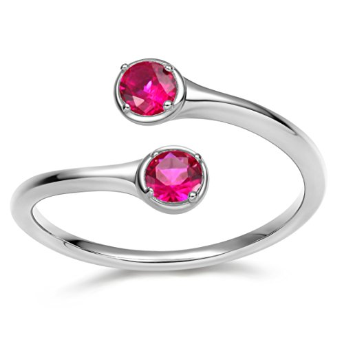 (EAMTI Wrap Adjustable 925 Sterling Silver Ruby Cubic Zirconia July Birthstone Wedding Engagement Ring)