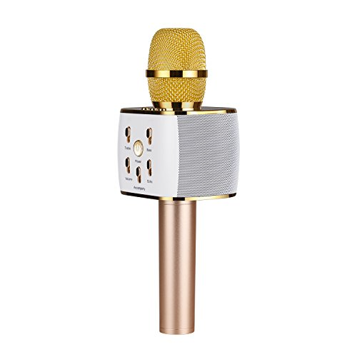Wireless Karaoke Microphone, Portable Karaoke Machine for Kids with Bluetooth Speaker,USB-Stick Player, bluetooth wireless microphone for iPhone,Android, iPad ,TV(2018 UPDATED) (gold)
