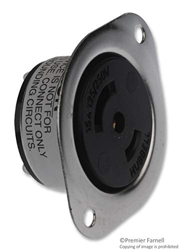 HBL7487 - Power Entry Connector, Power Entry, 15 A, Black, Stainless Steel Body, 250 V, Midget Twist-Lock ()