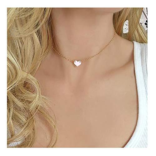 Gold Cute Tiny Heart Choker Necklace,18K Gold Plated Dainty Handmade Boho Simple Heart Shaped Minimalist Chain Simple Choker Necklace for Women