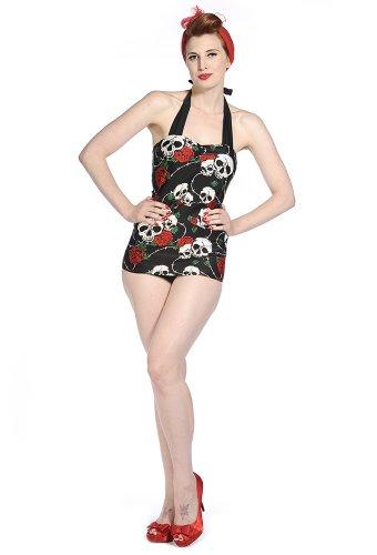 Banned Skull Roses Swimsuit - Black/Red / UK 12 / US 8 / EU 38