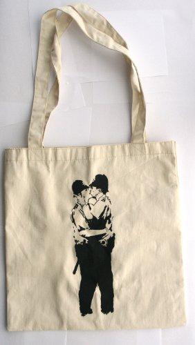Kissing Kupfer Banksy-Stil Baumwolle Tasche