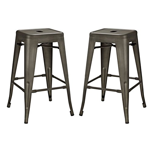 Modern Urban Industrial Distressed Antique Vintage Counter Stool Chair ( Set of 2), Brown, Metal by America Luxury - Stools (Image #4)